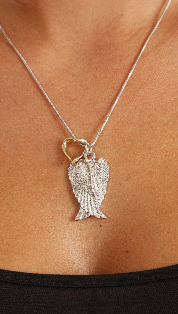 Apparel Addiction Silver Wings/Gold Heart Necklace