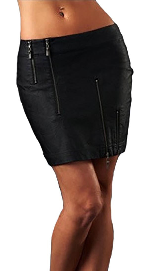 Affliction Wild Abandon Leather Zipper Skirt in Black