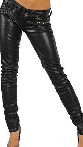Affliction Raquel Cross Studs Pleather Orva Skinny Pants Leather Skinny Denim Black