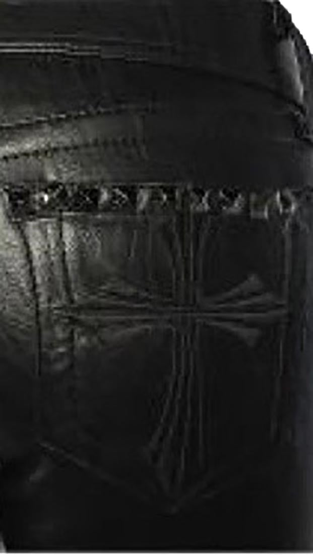 Affliction Raquel Cross Studs Stretch Pleather Orva Skinny Pants Black