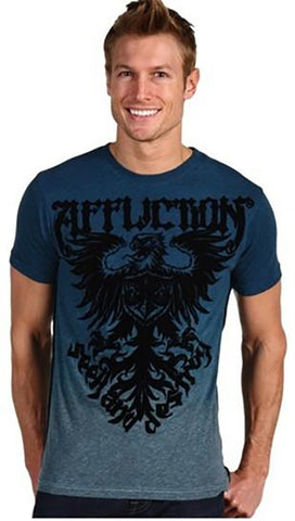 Affliction Employ Mens Burnout Dip Dye Tee in Pacific Blue Black Velvet Graphic