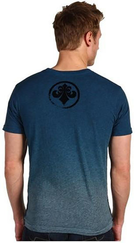 Affliction Employ Mens Burnout Tee Shirt in Pacific Blue