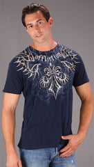 Affliction Skeleton Graphic Mens Short Sleeve Tee Shirt Navy Blue ShopAA