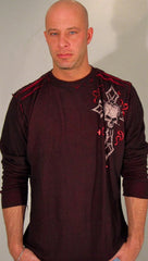 Affliction Mens Damma Reversible Thermal in Black Red