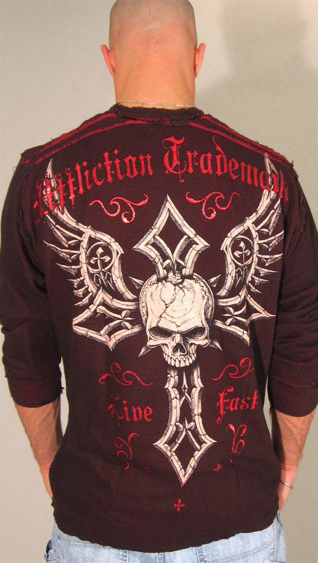 Affliction Damma Reversible Thermal in Black/Red
