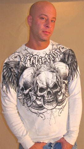 Affliction Julius Mens Long Sleeve Thermal in Vintage White