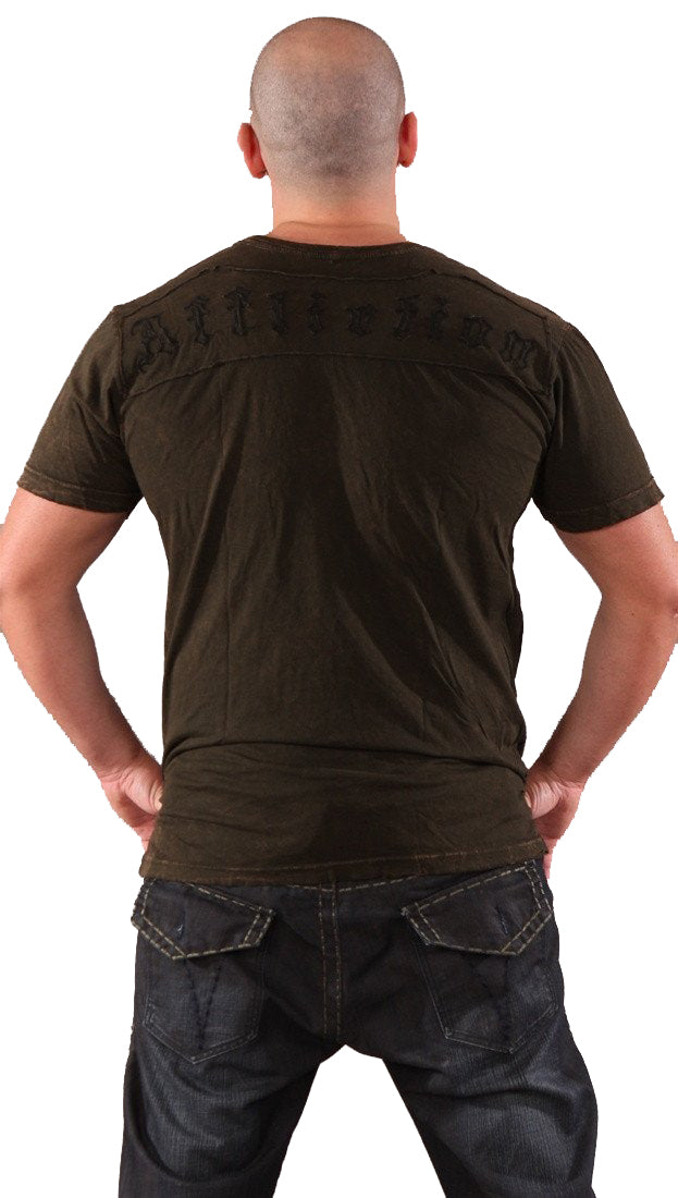 Affliction Streamline Logo Mens Tee Mud Brown