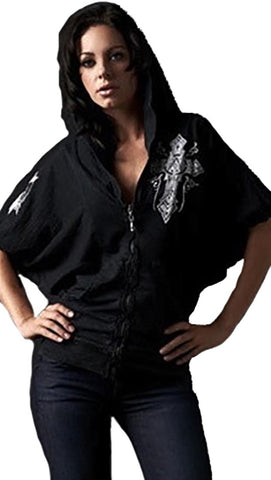 Affliction Chaos Bubble Sleeve Zip Hoodie in Black
