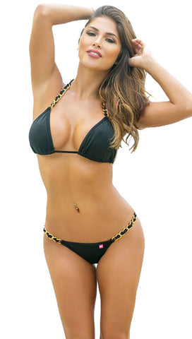 Chynna Dolls Swimwear Oahu Got Me In Chains Bikini Black