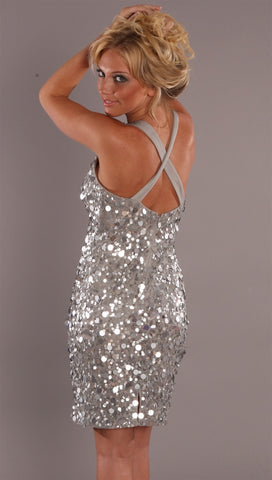 Alexia Admor Pailette Cross Back Dress Silver