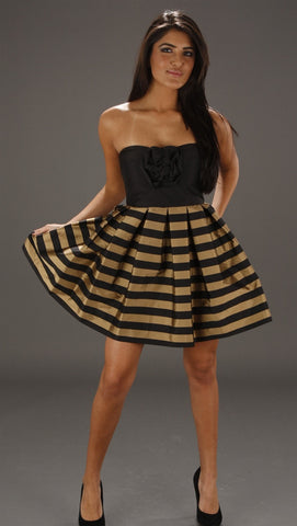 Alexia Admor Gold Stripe Cupcake Tube Dress