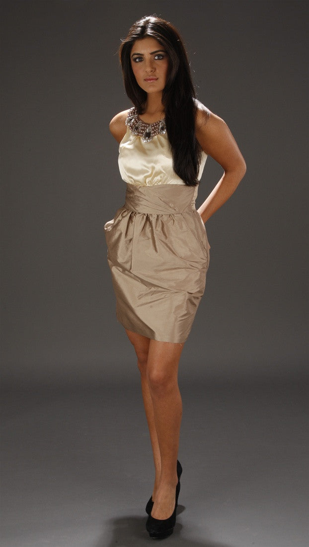 Alexia Admor Jeweled Neck Color Blocked Dress in Champagne