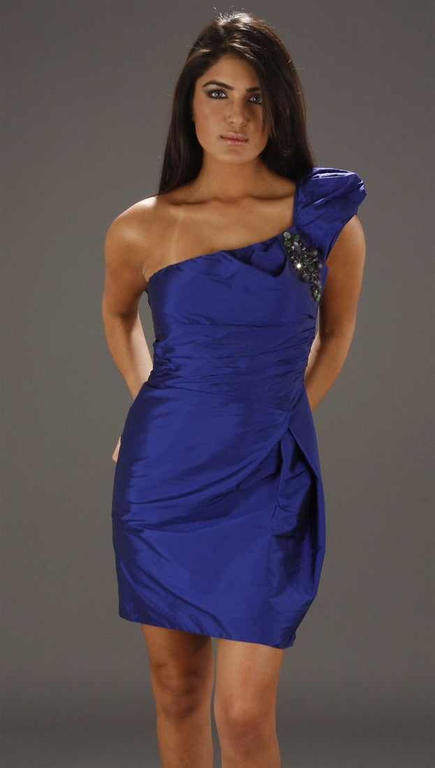 Alexia Admor One Shoulder Puff Sleeve Dress w/ Jewels in Ultraviolet
