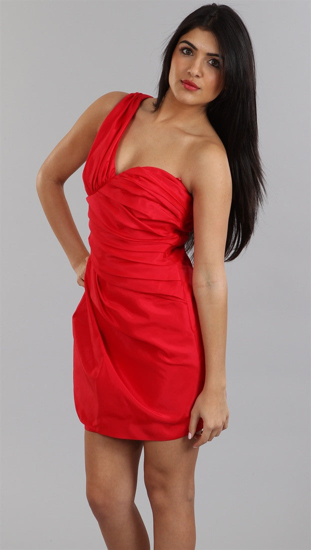 Alexia Admor One Shoulder Mummy Rap Dress in Red