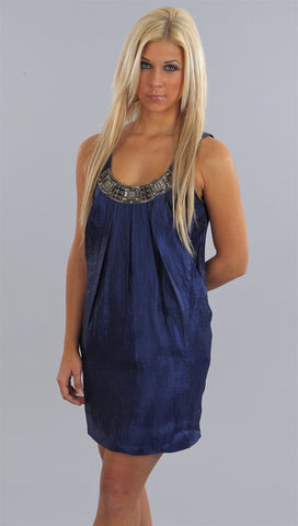 Alexia Admor Jeweled Neck Trapeze Dress in Indigo