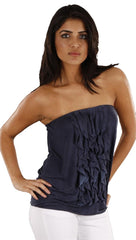 Anama Ruffle Tube Top in Navy