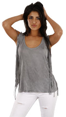Anama Fringe Tank in Gray