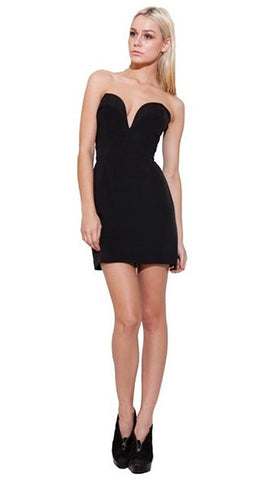 Ani Lee Taryn Strapless Deep V Plunging Neckline Mini Silk Dress Black