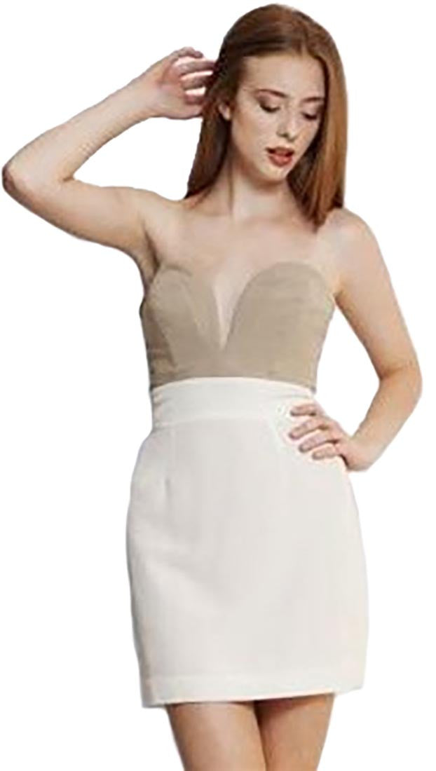Ani Lee Taryn Strapless Plunge Deep V Two Tone Colorblock Silk Dress Tan Cream