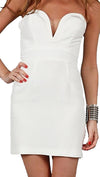 Ani Lee Taryn Strapless Deep V Plunging Neckline Mini Silk Dress White