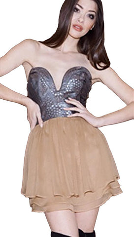 Ani Lee Josie Deep V Corset Top Strapless Dress Silk Skirt in Eclipse Sienna