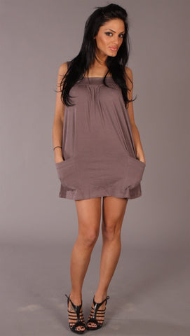 Long Tunic Swing Tank Pocket Sleeveless Summer Brown Dress