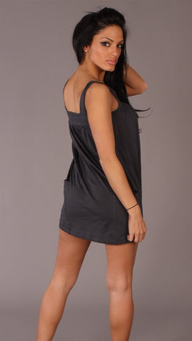 Apparel Addiction Long Tank W/ Pockets Grey