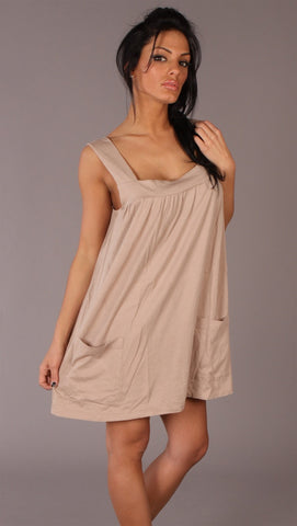 Apparel Addiction Long Tank W/ Pockets Tan