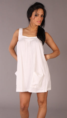 Apparel Addiction Long Tank W/ Pockets White
