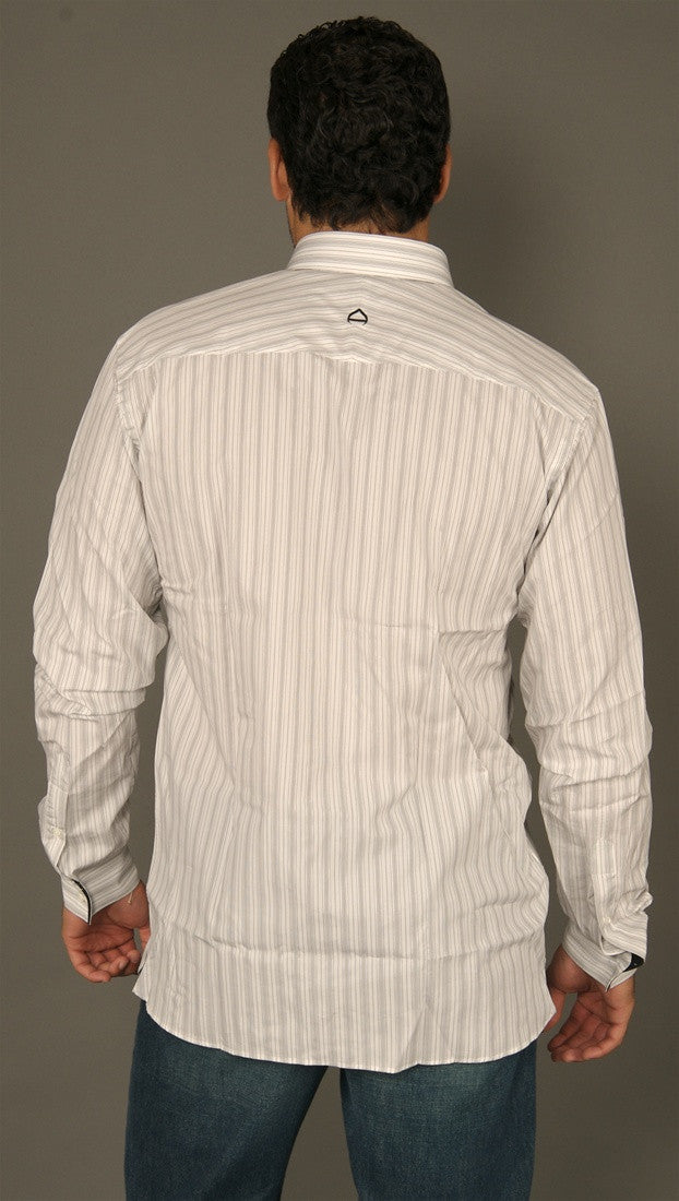 Arbitrage Black Striped Button Down