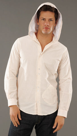 Arbitrage Button Down Hoodie In Peach