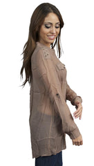 Aryn K Metal Ring Shoulder Sheer Button Down Tunic Collar Shirt Mocha