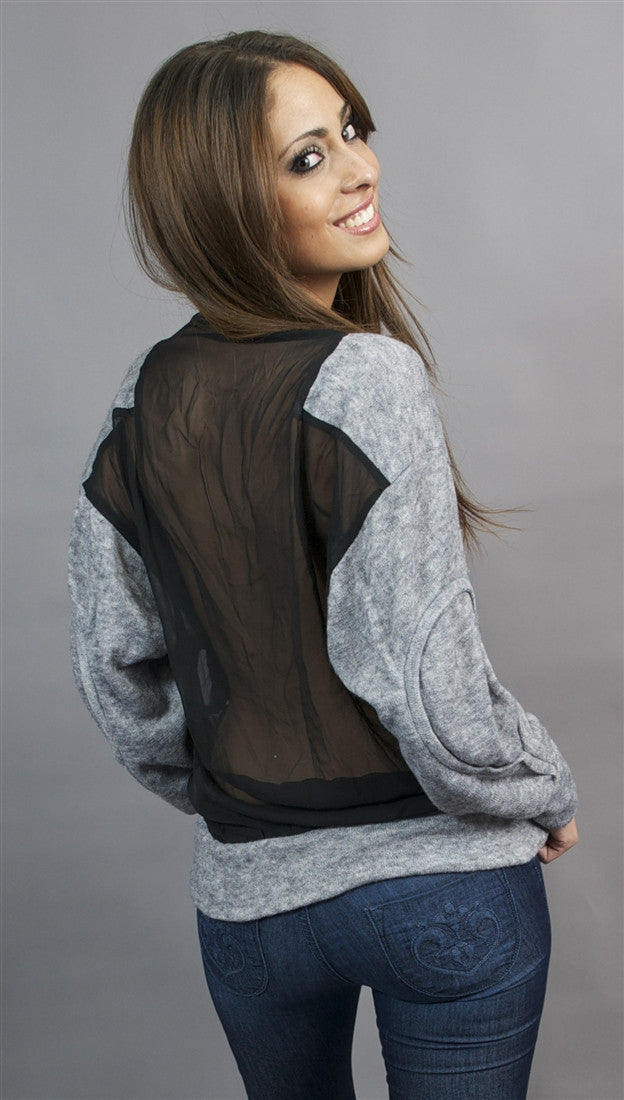 Aryn K. Sheer Back Sweater in Charcoal