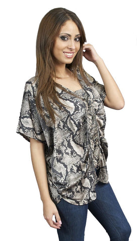 Aryn K Beaded Python Skin Print Blouse in Taupe Black