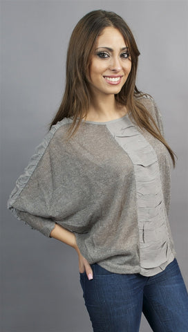 Aryn K. Short Sleeve Crochet Pullover with Ruched Panel Accents in Grey