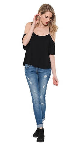 My Favorite Cold Shoulder Top Black by Heart & Hips l Shopaa