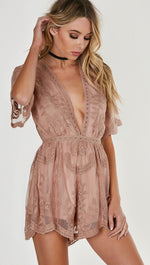 Antique Embroidered Crochet Lace Deep V Romper Brown