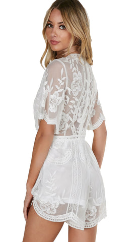 Antique Embroidered Romper White
