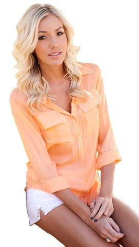 Bella Dahl Pullover Placket Shirt Peach Orange