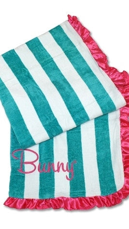 Beach Bunny Swimwear Tropical Affair Beach Towel Turquoise Stripe Hot Pink Satin Ruffle