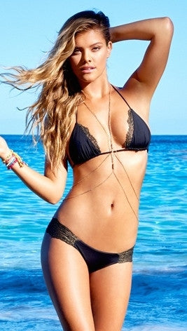 Beach Bunny Swimwear Panama Animal Junlge Infused Black Lady Lace Bikini