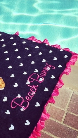 Beach Bunny Swimwear Black Heart Beach Towel