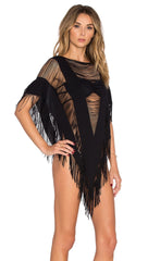 Indian Summer Fringe Poncho in Black by Beach Bunny Swimwear
