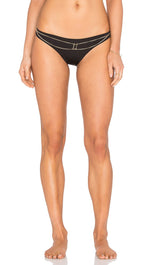 Beach Bunny Swimwear Tribal Theory Gold Chain Skimpy Bikini Black Bottom