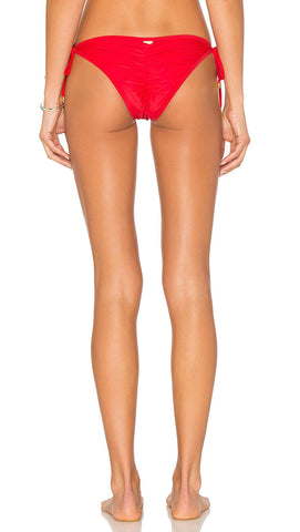 Beach Bunny Hard Summer Side Tie Bikini Bottoms Red
