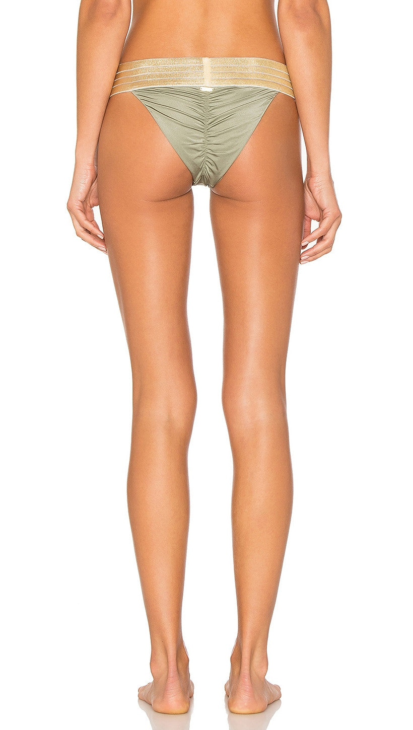Sheer Addiction Skimpy Bikini Army Green Gold Beach Bunny Swimwear