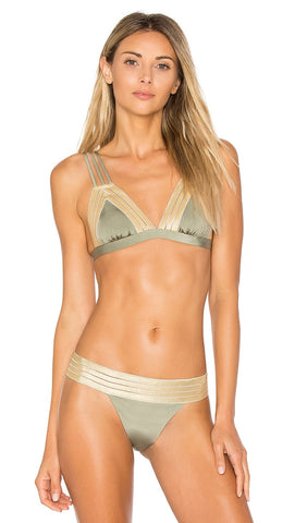 Army Green Sheer Addiction Triangle Top Bikini Gold Beach Bunny Swimwear