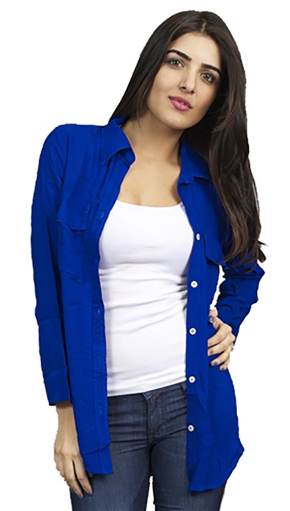 Bella Dahl Patch Pocket Button Down Cobalt Blue Long Sleeve