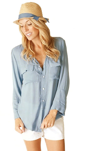Bella Dahl Patch Pocket Button Down Shirt Pale Blue