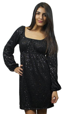 Betsey Johnson Sequin Jersey Long Sleeve Off Shoulder Dress in Black